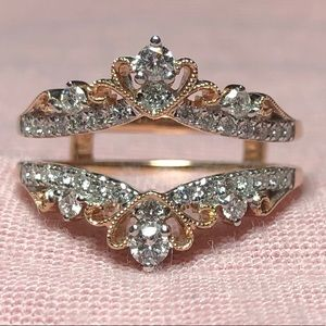 Sparkling 14k RG 1/2 CtDiamond Tiara Enhancer Ring